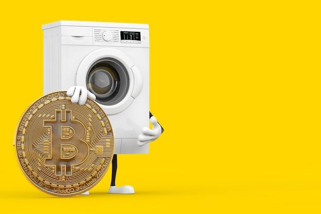 黄色の背景にデジタルと暗号通貨のゴールデンビットコインコインを備えたモダンな白い洗濯機のキャラクターマスコット。 3dレンダリング