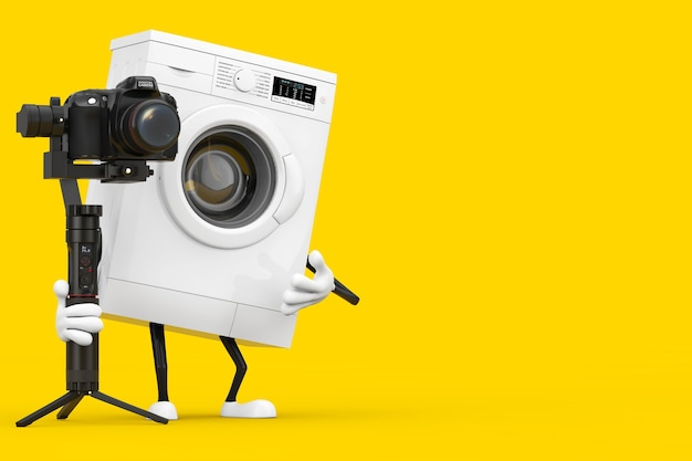 Modern white washing machine character mascot with dslr or video camera gimbal stabilization tripod system on a yellow background. 3d rendering