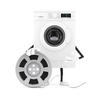 白い背景にフィルムリールシネマテープでモダンな白い洗濯機のキャラクターマスコット。 3dレンダリング