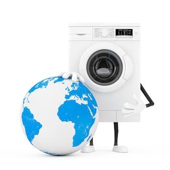 白い背景の上の地球儀とギフトボックスとモダンな白い洗濯機のキャラクターマスコット。 3dレンダリング