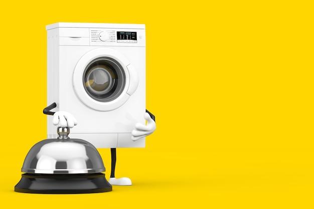 노란색 배경에 호텔 서비스 벨 호출이 있는 현대적인 흰색 세탁기 캐릭터 마스코트. 3d 렌더링