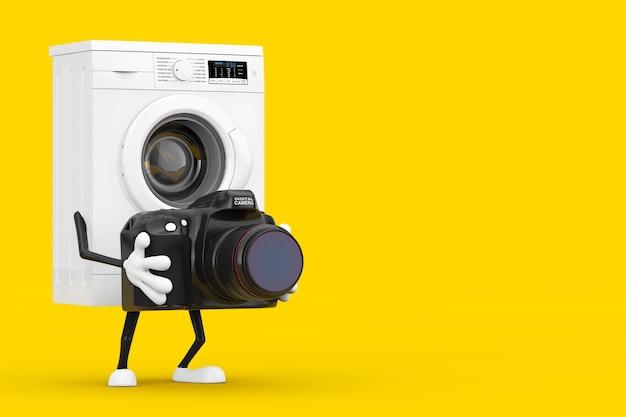 黄色の背景にモダンなデジタルフォトカメラとモダンな白い洗濯機のキャラクターマスコット。 3dレンダリング