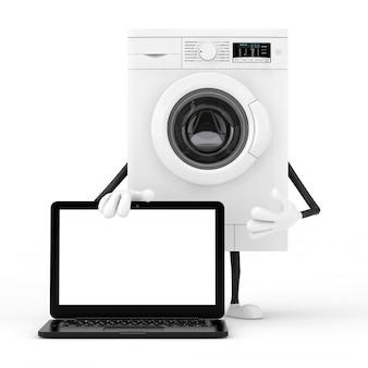 Modern white washing machine character mascot with modern laptop computer notebook and blank screen for your design on a white background. 3d rendering