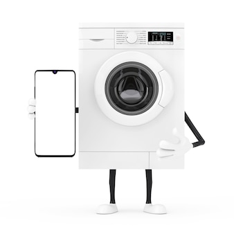 흰색 바탕에 디자인을 위한 현대적인 휴대전화와 빈 화면이 있는 현대적인 흰색 세탁기 캐릭터 마스코트. 3d 렌더링