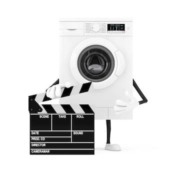 白い背景の上の映画のカチンコと現代の白い洗濯機のキャラクターのマスコット。 3dレンダリング