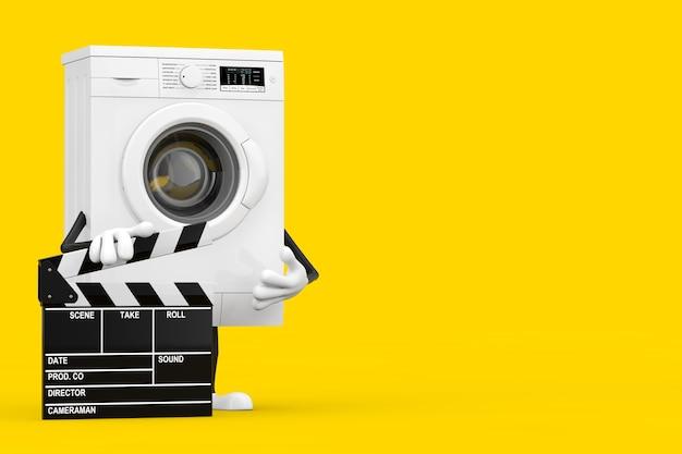 黄色の背景に映画のカチンコとモダンな白い洗濯機のキャラクターのマスコット。 3dレンダリング
