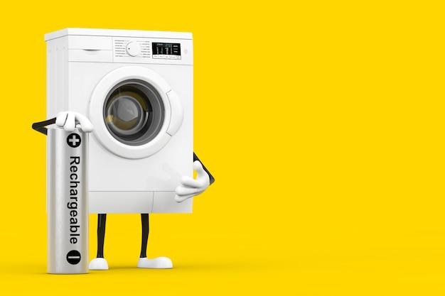 黄色の背景に充電式バッテリーを備えたモダンな白い洗濯機のキャラクターマスコット。 3dレンダリング