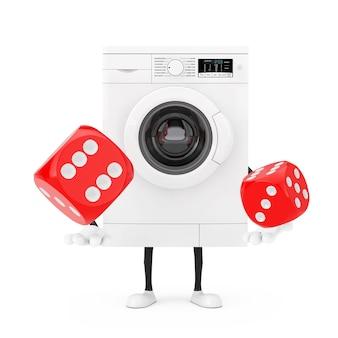 白い背景の上の飛行中の赤いゲームダイスキューブとモダンな白い洗濯機のキャラクターマスコット。 3dレンダリング