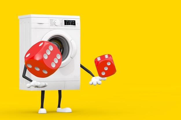 黄色の背景に飛行中の赤いゲームダイスキューブとモダンな白い洗濯機のキャラクターマスコット。 3dレンダリング
