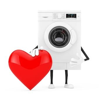 白い背景に赤いハートのモダンな白い洗濯機のキャラクターマスコット。 3dレンダリング