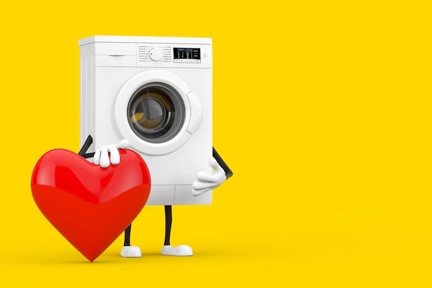 黄色の背景に赤いハートのモダンな白い洗濯機のキャラクターマスコット。 3dレンダリング