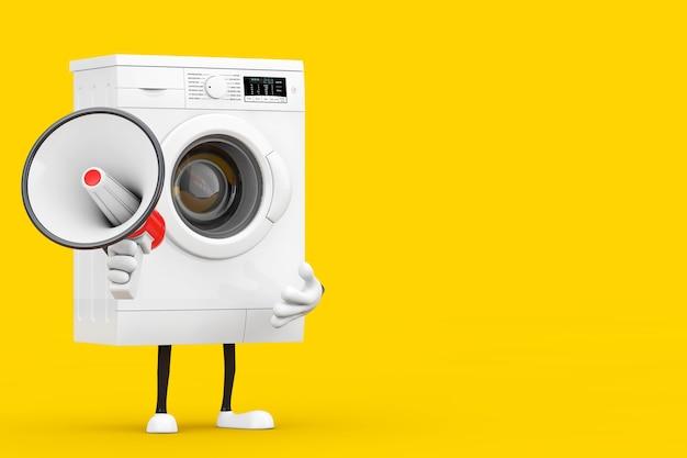 노란색 배경에 빨간색 복고풍 확성기가 있는 현대적인 흰색 세탁기 캐릭터 마스코트. 3d 렌더링