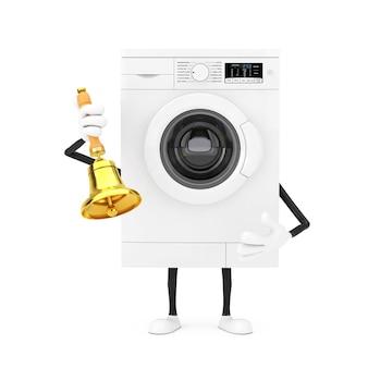Современный белый талисман характера стиральной машины с винтажным золотым школьным колоколом на белой предпосылке. 3d рендеринг