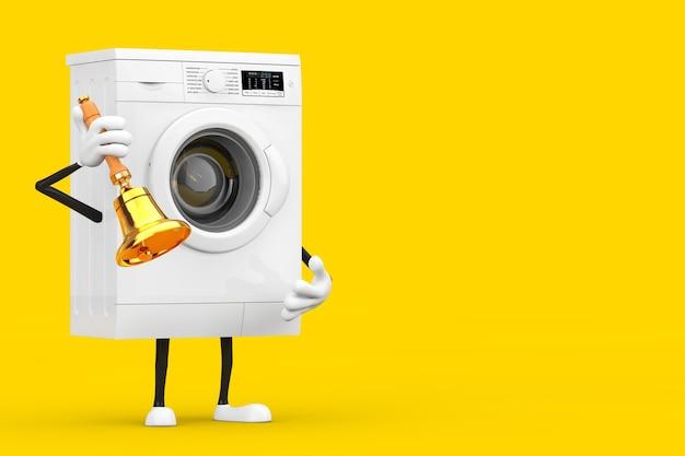 Современный белый талисман характера стиральной машины с винтажным золотым школьным колоколом на желтой предпосылке. 3d рендеринг