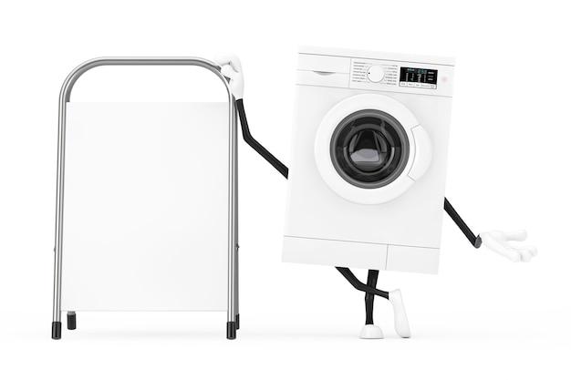白い背景の上に白い空白の広告プロモーションスタンドとモダンな白い洗濯機のキャラクターマスコット。 3dレンダリング