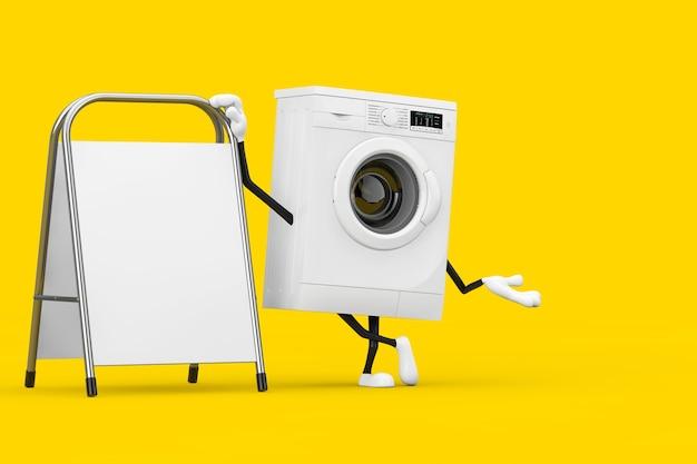 黄色の背景に白い空白の広告プロモーションスタンドとモダンな白い洗濯機のキャラクターマスコット。 3dレンダリング