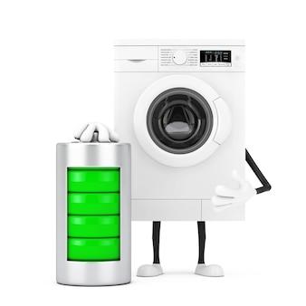 白い背景に抽象的な充電バッテリーを備えたモダンな白い洗濯機のキャラクターマスコット。 3dレンダリング