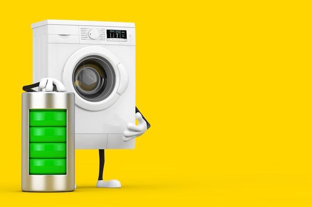 黄色の背景に抽象的な充電バッテリーを備えたモダンな白い洗濯機のキャラクターマスコット。 3dレンダリング