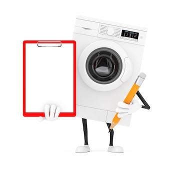 Современный белый талисман характера стиральной машины с с красными пластиковыми доской сзажимом для бумаги, бумагой и карандашом на белой предпосылке. 3d рендеринг
