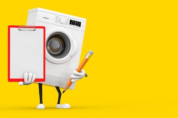 Современный белый талисман характера стиральной машины с с красными пластиковыми доской сзажимом для бумаги, бумагой и карандашом на желтой предпосылке. 3d рендеринг