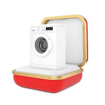 白い背景の上の赤いギフトボックスのモダンな白い洗濯機。 3dレンダリング