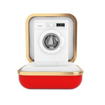 Современная белая стиральная машина в красной подарочной коробке на белом фоне. 3d рендеринг