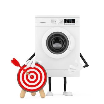 Современный белый характер талисмана стиральной машины с целью и дротиком стрельбы из лука в центре на белой предпосылке. 3d рендеринг
