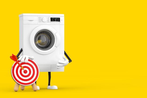 Современный белый характер талисмана стиральной машины с целью и дротиком для стрельбы из лука в центре на желтом фоне. 3d рендеринг