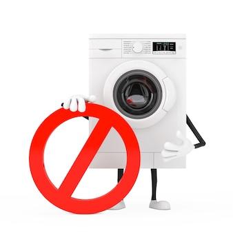 現代の白い洗濯機の人のキャラクターのマスコットは、白い背景に赤い禁止または禁止記号が付いています。 3dレンダリング