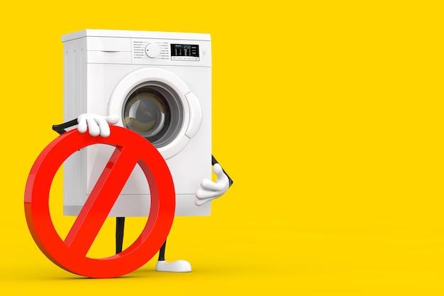 黄色の背景に赤い禁止または禁止記号が付いたモダンな白い洗濯機の人のキャラクターのマスコット。 3dレンダリング