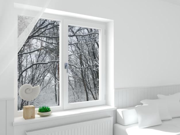 Современное белое окно в интерьере