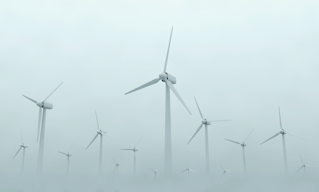 Modern wind turbines on dense fog