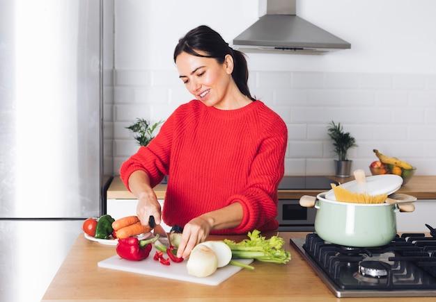 Modern woman cooking