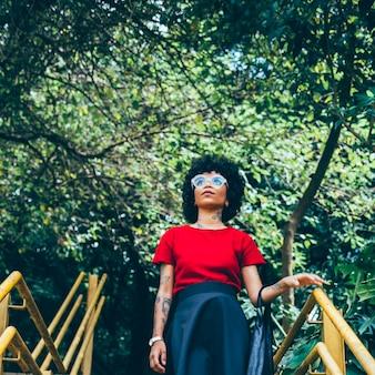 Modern woman in a park