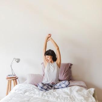 Modern woman waking up