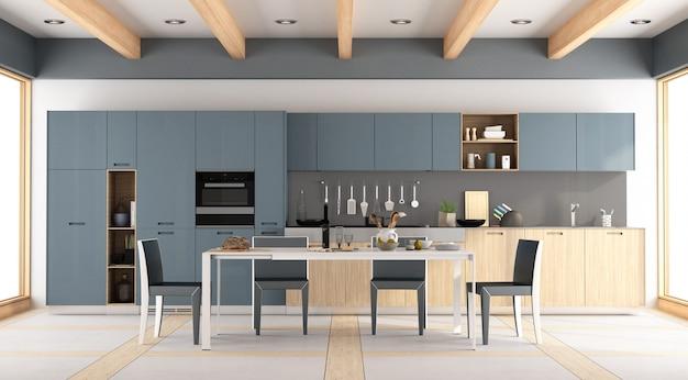 モダンな木製と青いキッチン