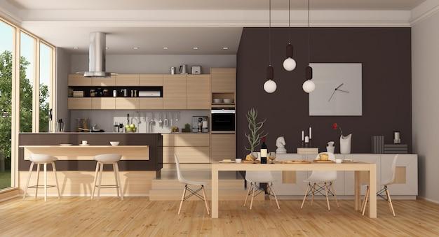 モダンな木製と茶色のキッチン