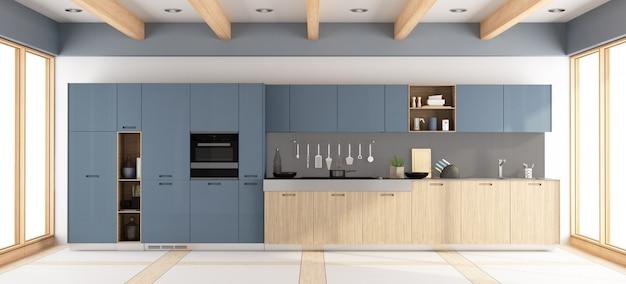 モダンな木製と紫のキッチン