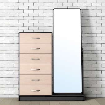 レンガの壁の前に鏡が付いている現代木製のドレッサー。 3dレンダリング。