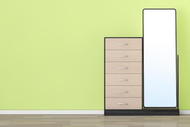 オリーブの壁の前に鏡が付いている現代木製のドレッサー。 3dレンダリング。