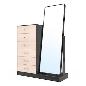 흰색 바탕에 거울이 달린 현대적인 나무 드레서. 3d 렌더링.