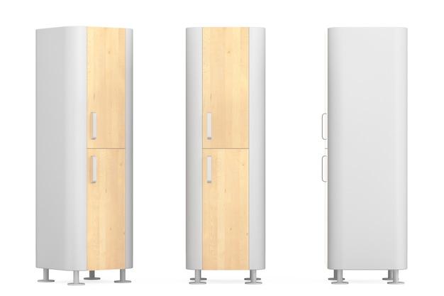 Современные деревянные кухонные шкафы на белом фоне. 3d рендеринг