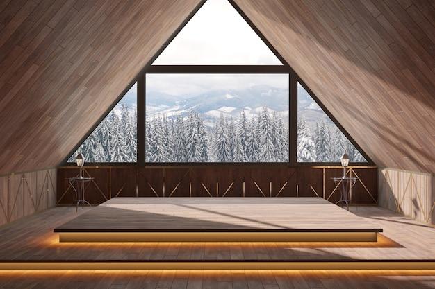 窓のインテリアデザインの自然な背景を持つモダンな木製の部屋。