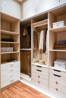 Modern wooden wardrobe with clothes hanging on rail in walk
