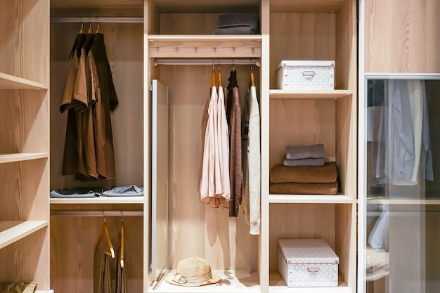 Modern wooden wardrobe with clothes hanging on rail