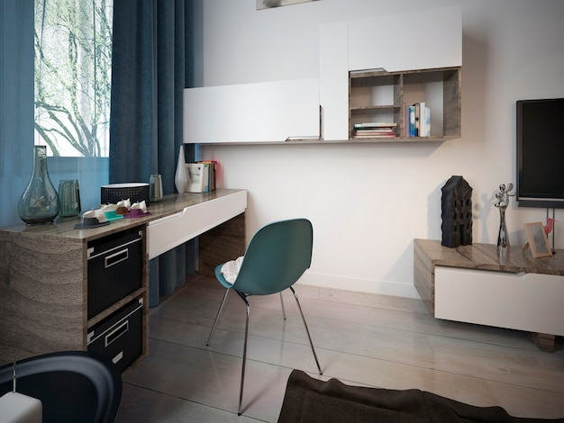 Modern work area with a desk in a teenager's room with shelves on the wall near the window.