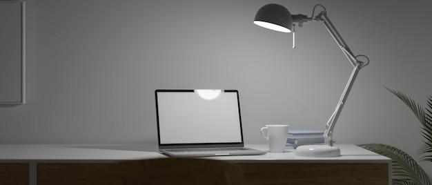 Современное рабочее место с пустым экраном ноутбука и современной лампой на столе поздно ночью с медленным светом 3d