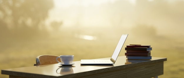 노트북, 커피 머그, 책 더미, 의자 더미가 있는 현대적인 업무용 책상은 자연 햇빛과 아침 안개가 배경, 3d 렌더링, 3d 그림에 서 있습니다.