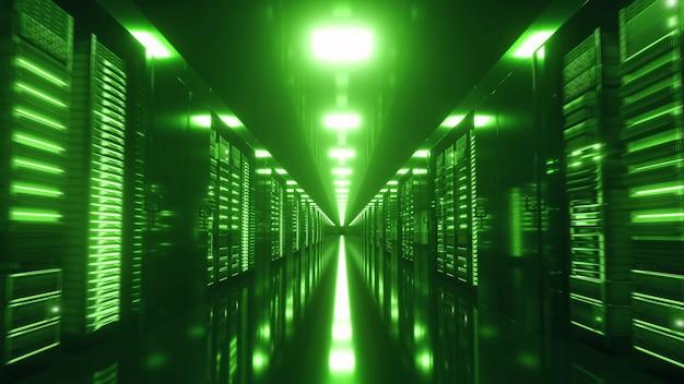 랙 서버가 있는 현대적인 작업 서버실. 끝없는 서버가 있는 데이터 센터. 3d 렌더링
