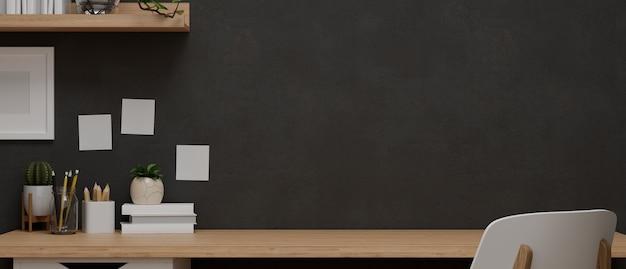 製品の展示と装飾のための黒い壁紙の木製テーブルで設計されたモダンな作業スペース